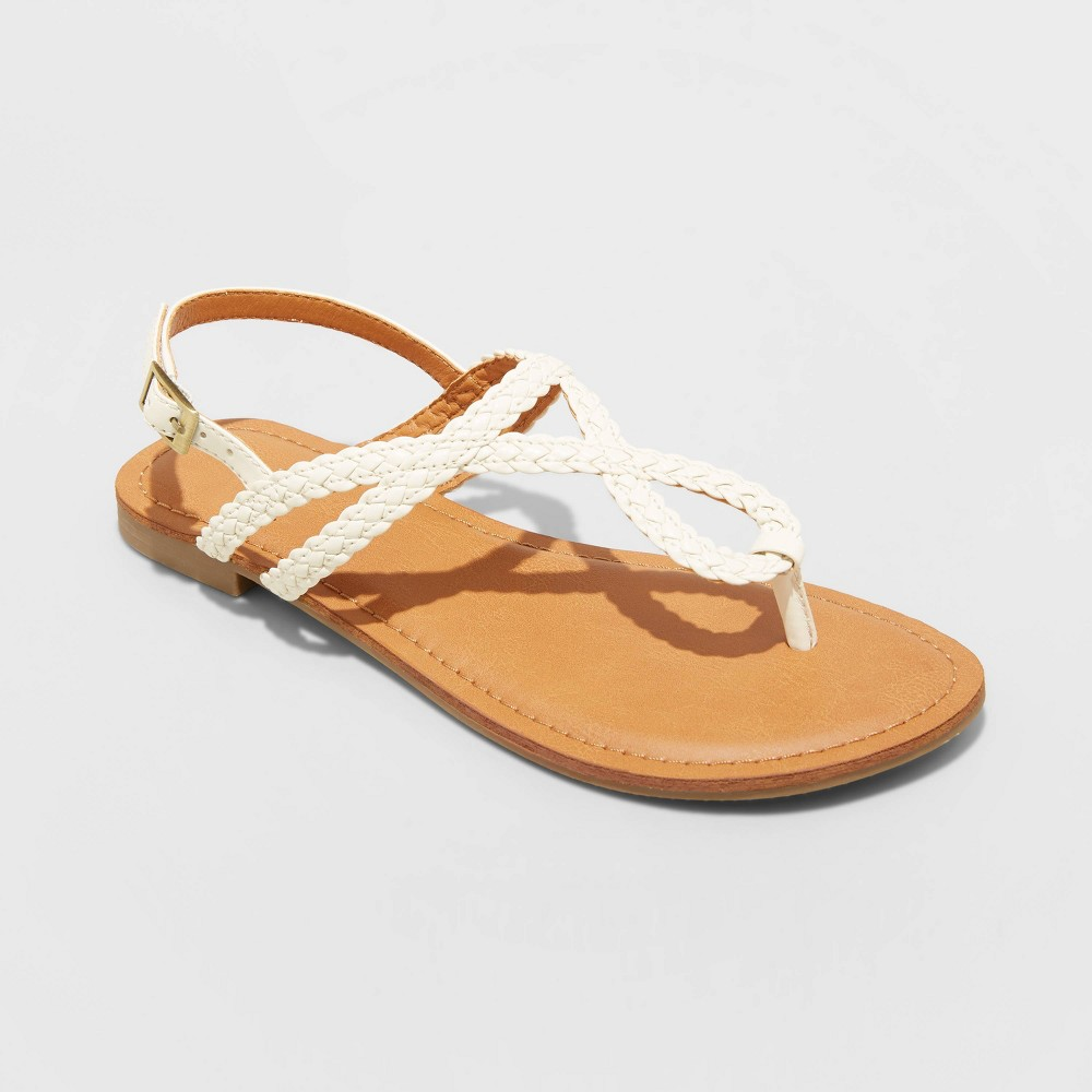 Women 39 S Anabel Braided Thong Wide Width Ankle Strap Sandals Universal Thread 8482 White 6w