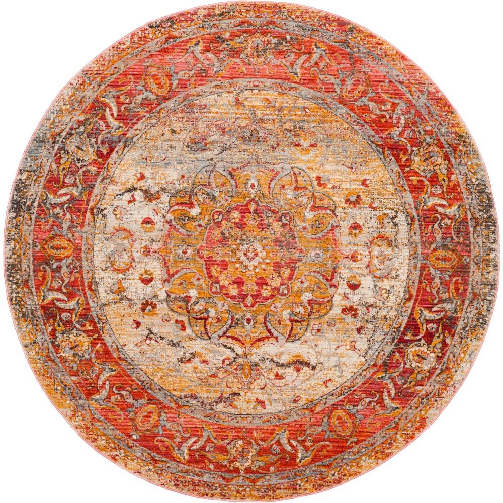 5' Medallion Loomed Round Area Rug Saffron/Cream (Saffron/Ivory) - Safavieh
