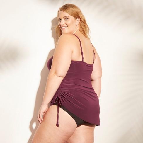 87b3c8a8719 Women s Side Tie Swim Dress - Aqua Green® Plum Purple 26W   Target