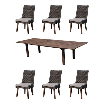 "Cosmos FSC Teak 7pc 80""/120"" Extension Dining Set - Taupe - Courtyard Casual"