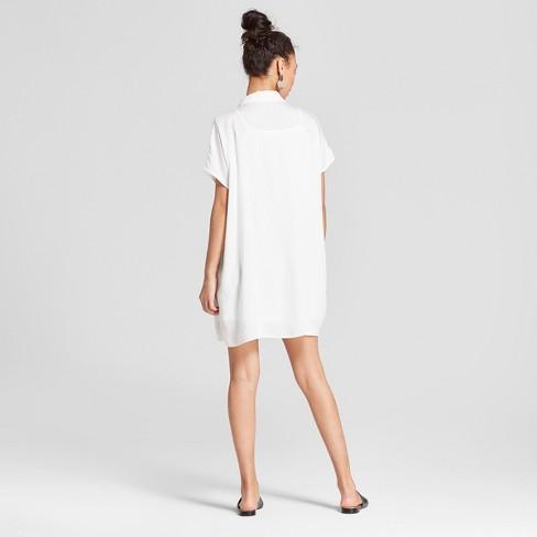 d6a2de1017 Women s Short Sleeve Mini Shirtdress - K By Kersh White   Target