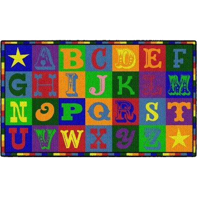 3'x5' Rectangle Indoor and Outdoor letters Nylon Accent Rug Multicolored - Flagship Carpets