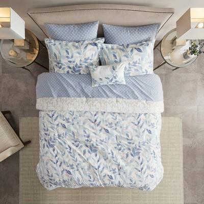 Full Leisha Reversible Complete Bedding Set - Blue