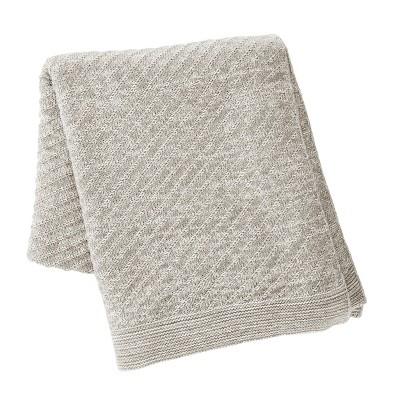 "Kenneth Cole New York Kcny Essentials Throw Blanket, Knit, Light Grey, 50"" X 60"""