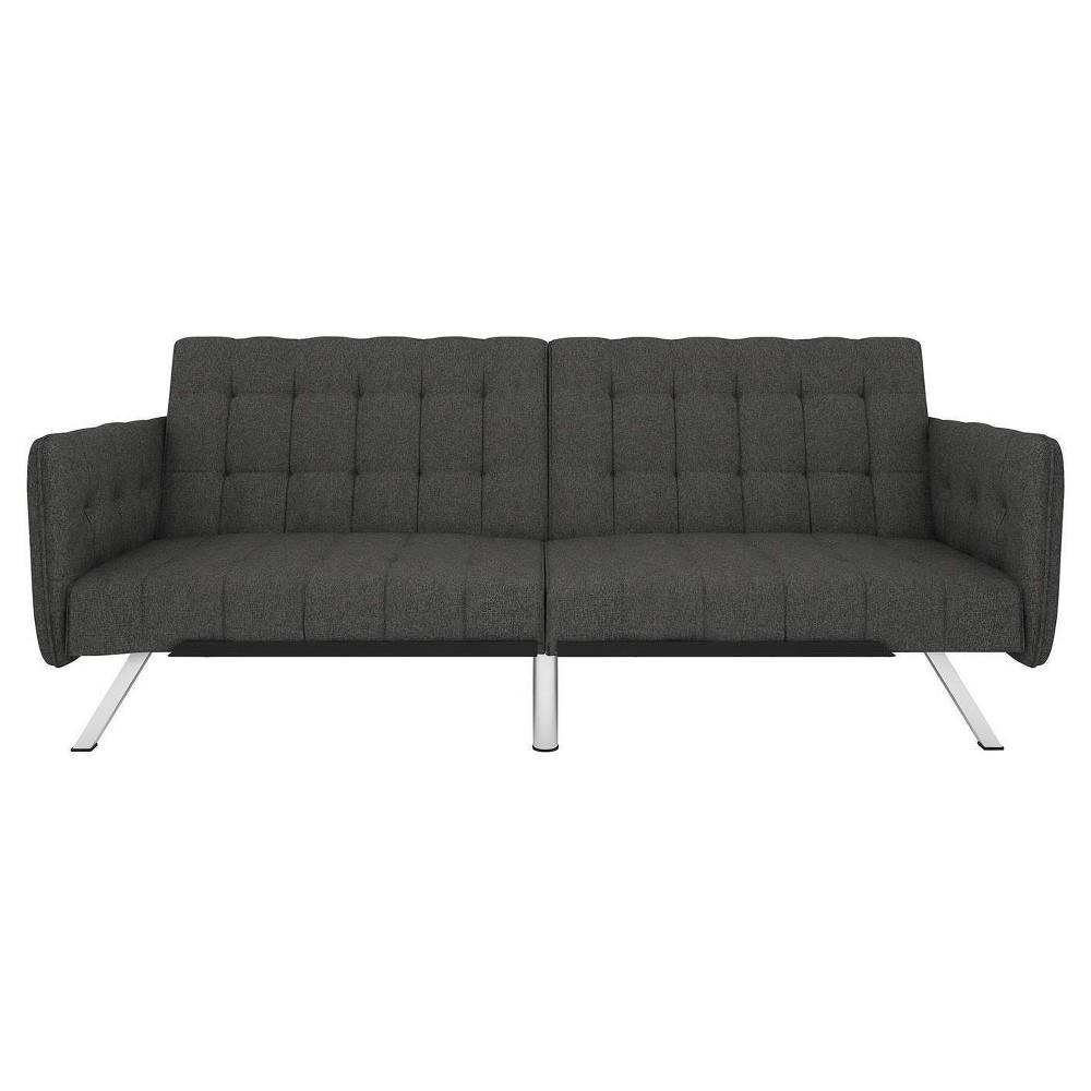 Eve Convertible Futon and Sofa Sleeper Black Gray Linen - Room & Joy
