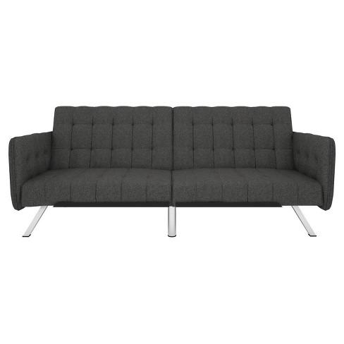 Eve Convertible Futon and Sofa Sleeper Black Gray Linen - Room & Joy - image 1 of 4