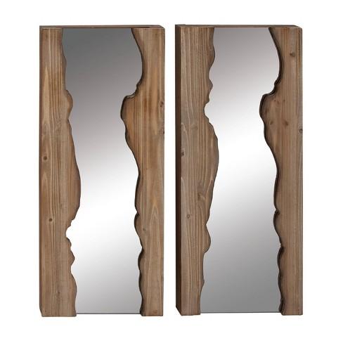 "(Set of 2) 13"" x 32"" Rectangular Live Edge Wood Wall Mirrors - Olivia & May - image 1 of 4"