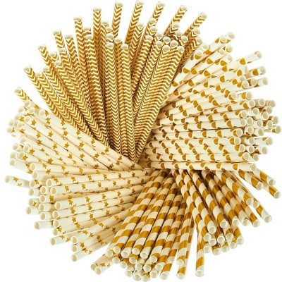 Juvale Paper Straws - 160-Pack Gold Colored Fun Biodegradable Drinking Straws with Coral Stripes, Polka Dot, Chevron, and Star Designs