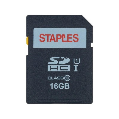 Staples 16GB High Speed SDHC Card Class 10 Flash Memory Card 28419