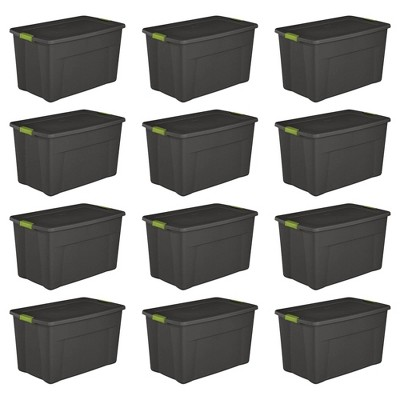 Sterilite 19453V04 35 Gal. Storage Tote Box w/ Latching Container Lid (12 Pack)