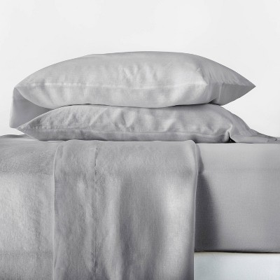 Queen 100% Linen Solid Sheet Set Light Gray - Casaluna™