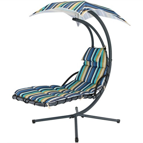 Admirable Floating Chaise Lounge Chair With Canopy Umbrella Lakeview Sunnydaze Decor Andrewgaddart Wooden Chair Designs For Living Room Andrewgaddartcom