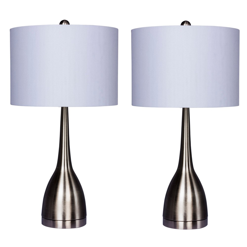 Image of 2pk Elongated Genie Bottle Metal Table Lamps Steel (Silver) (Lamp Only) - Fangio Lighting