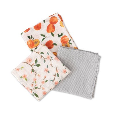 Red Rover Cotton Muslin Swaddle - Peachy 3pk