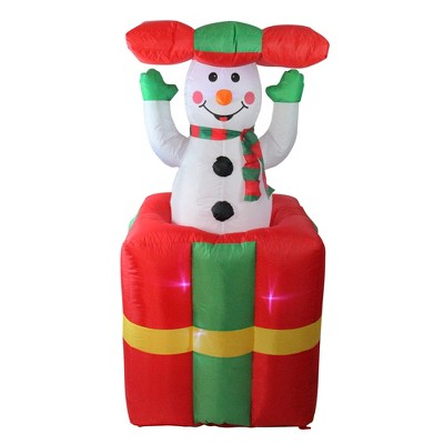 LB International 5' Lighted Inflatable Pop Up Snowman in Gift Box Christmas Outdoor Decoration