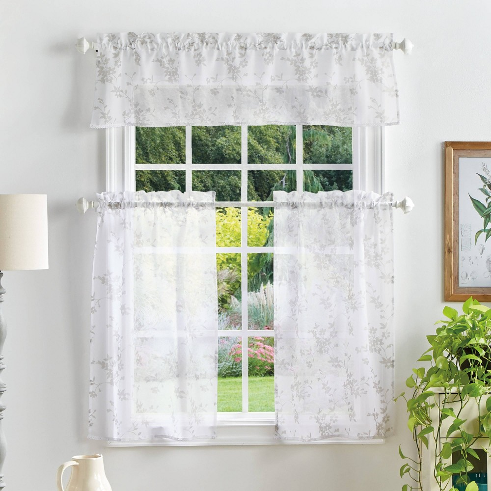"Image of ""36""""x56"""" Bellefield Floral Sheer Valence and Curtain Set Off White - Martha Stewart"""