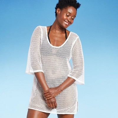 Women's Scoop Back Crochet Cover Up Dress - Kona Sol™ White