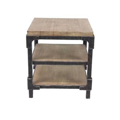 Industrial 3 Tier Side Table Brown - Olivia & May