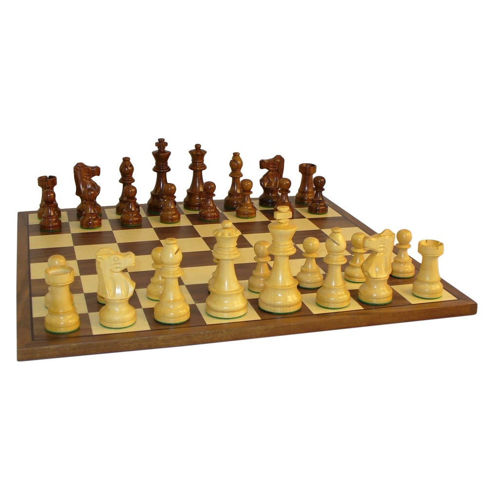 WorldWise Imports 3.5 Sheesham French Chess Set with Walnut Board Game