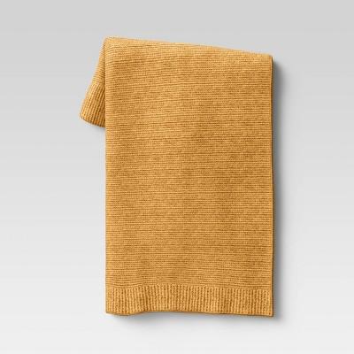 "50""x60"" Cozy Knit Throw Blanket Yellow - Threshold™"