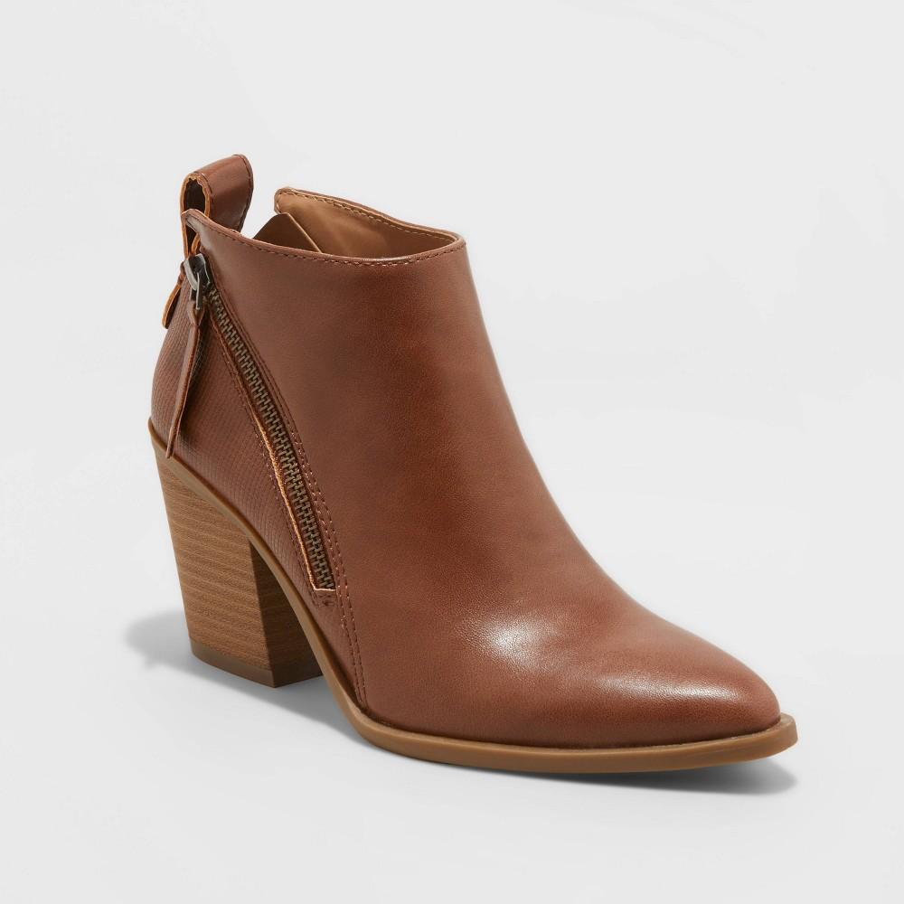 Women 39 S Jayden Double Zip Ankle Bootie Universal Thread 8482 Cognac 12