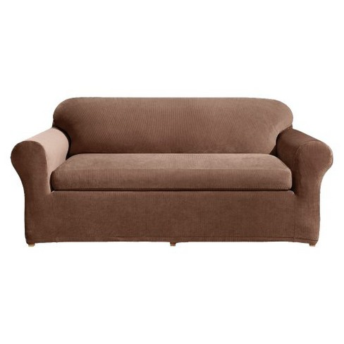 Stretch Rib 3 Piece Sofa Slipcover Oar Brown - Sure Fit - image 1 of 2