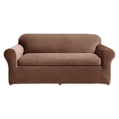 Charmant Stretch Rib 3 Piece Sofa Slipcover Oar Brown   Sure Fit
