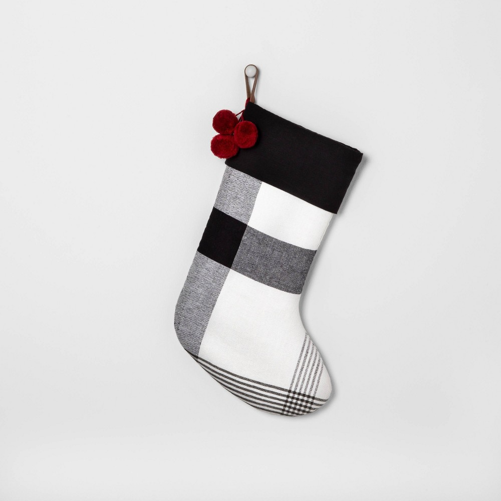 Image of Holiday Stockig Black & White Plaid with Red Poms - Hearth & Hand with Magnolia