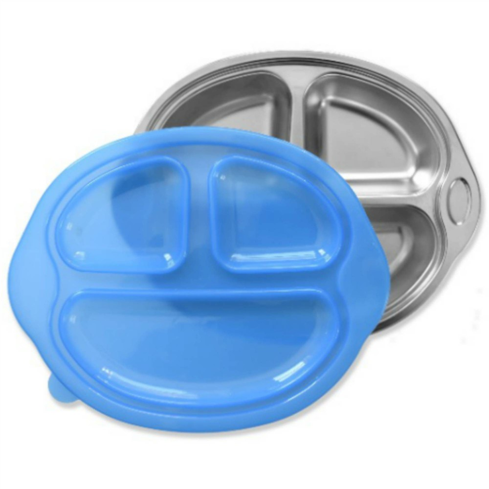 Image of Sage Spoonfuls Happy Foodie Stainless Steel Divided Plate Lid - Blue