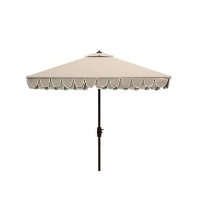 7.5' Square Elegant Valance Umbrella Beige/White - Safavieh