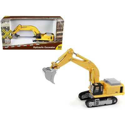 """Hydraulic Excavator Yellow """"TraxSide Collection"""" 1/87 (HO) Scale Diecast Model by Classic Metal Works"""
