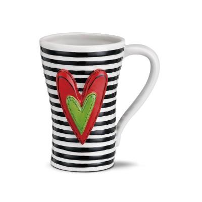 DEMDACO Black Stripes Mug 15 Ounce - White