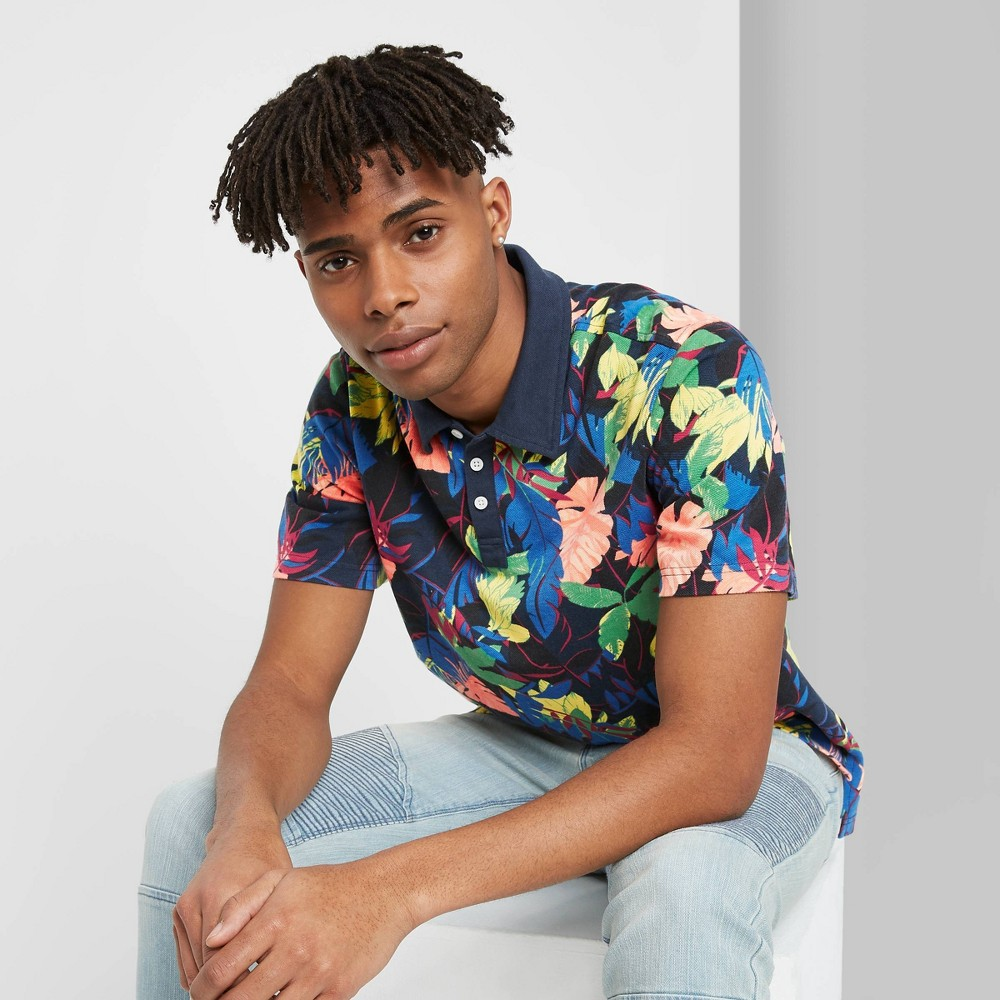 Men's Floral Print Short Sleeve Retro Polo Shirt - Original Use XS, Men's, MultiColored was $17.0 now $11.9 (30.0% off)