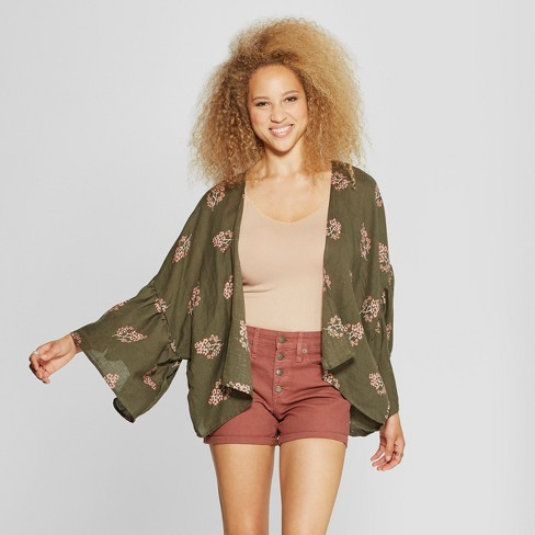 Women's Floral Print Woven Patterned Flounce Sleeve Kimono Jacket - Universal Thread™ Olive - image 1 of 2