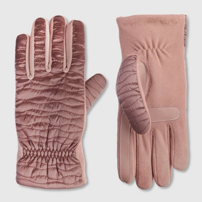 Isotoner Women's Sleek Heat Gloves - Pink