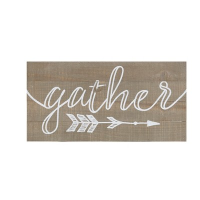 24 X12  Rustic Gather Print On Real Wood Plank Wall Sign Panels Natural