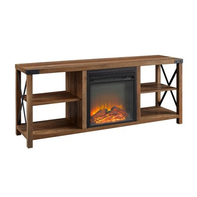 """Farmhouse Metal Fireplace Console TV Stand for TVs up to 65"""" - Saracina Home"""