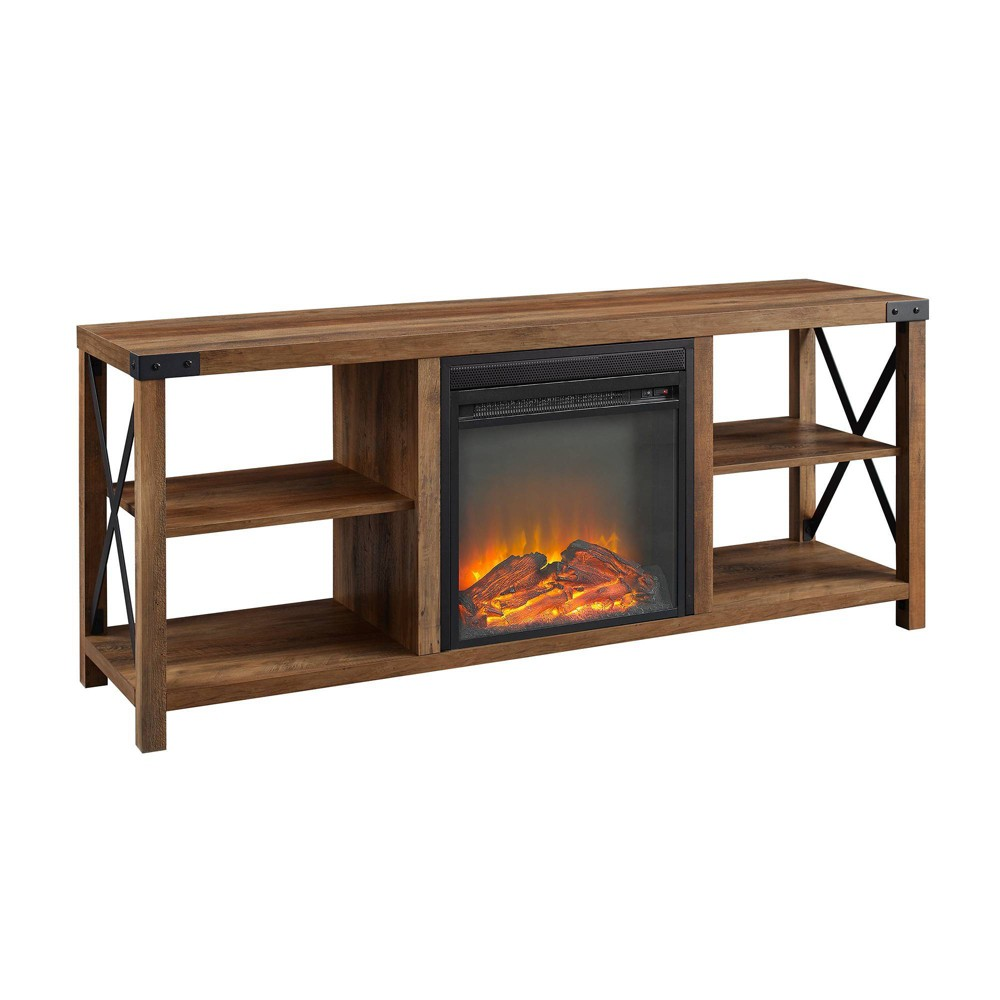 Farmhouse Metal Fireplace Console Tv Stand For Tvs Up To 65 34 Brown Saracina Home