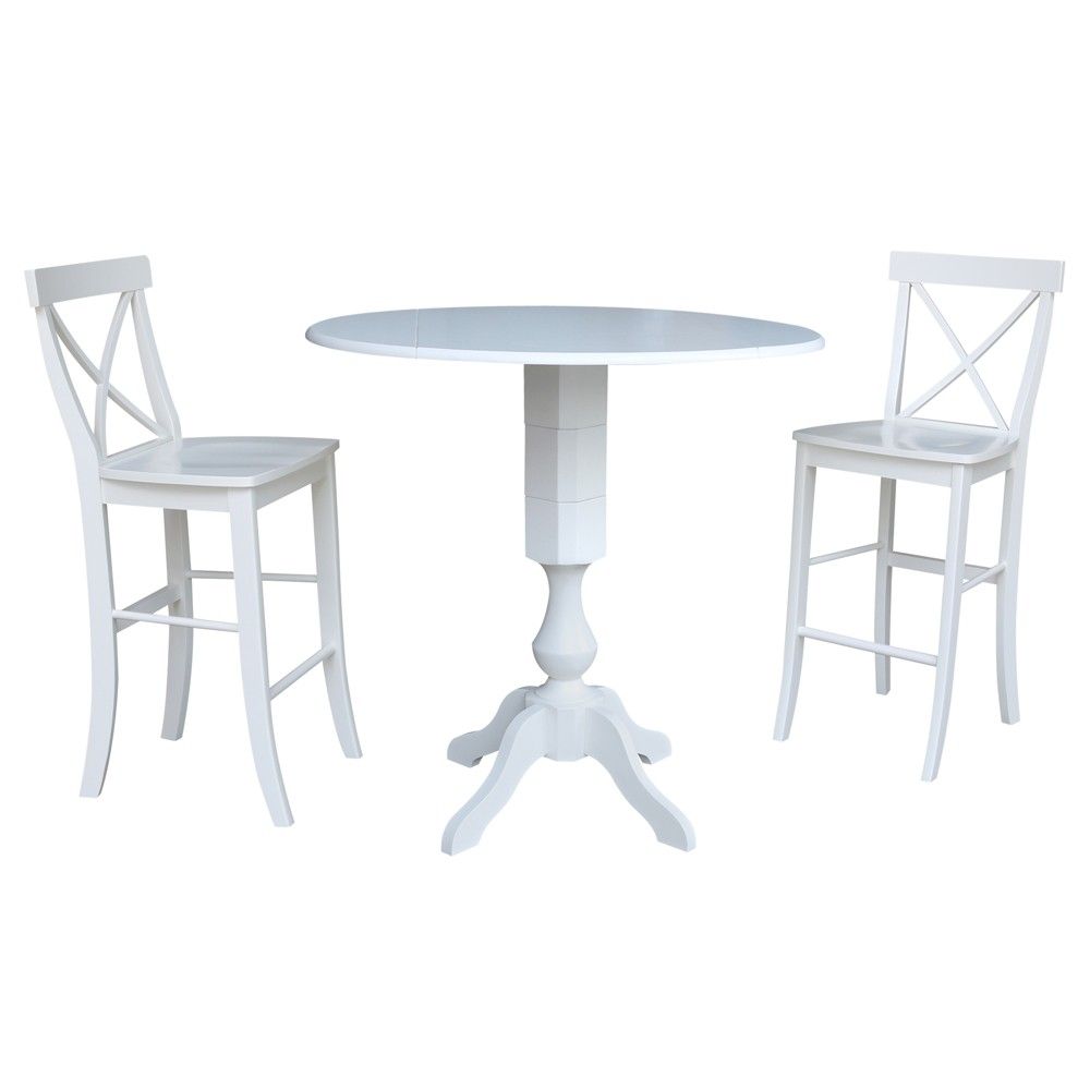 42 Round Pedestal Bar Height Drop Leaf Table with 2 Bar Height Stools White - International Concepts was $999.99 now $749.99 (25.0% off)