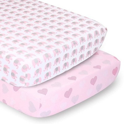 PS by The Peanutshell Sheets Pink Elephants/Pink Hearts 2pk