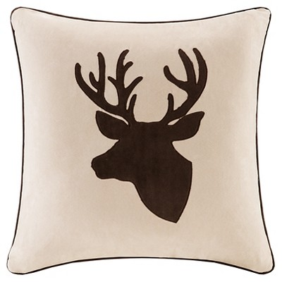 Tan Holiday Deer Suede Throw Pillow (20 x20 )
