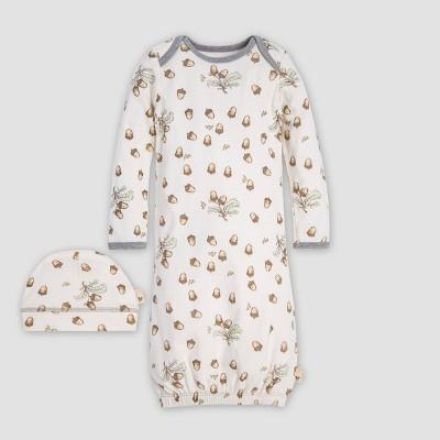 Burt's Bees Baby® Falling Acorn Organic Cotton Gown & Cap - Off White 0-6M