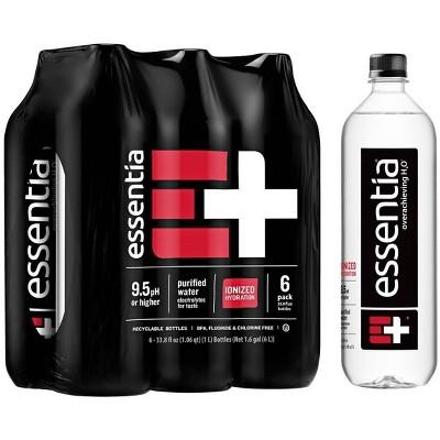 Essentia Water 9.5 pH or Higher Ionized Alkaline Water – 6pk/1 Liter Bottles