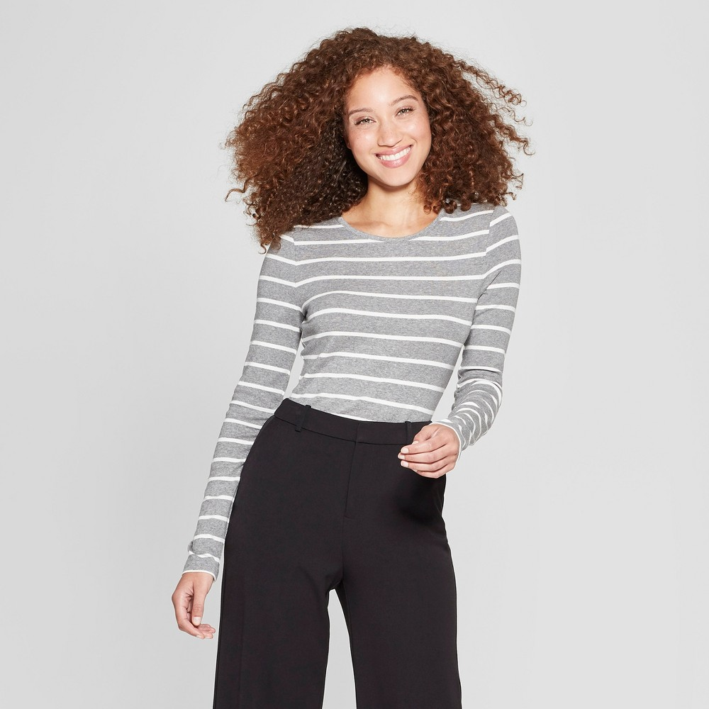 Women's Striped Long Sleeve Fitted Crew T-Shirt - A New Day Heather Gray/White S