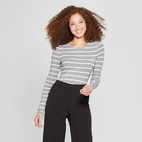 Women's Striped Long Sleeve Fitted Crew T-Shirt - A New Day™ - image 1 of 3