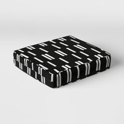 Stripe Outdoor Deep Seat Cushion DuraSeason Fabric™ Black/White - Project 62™