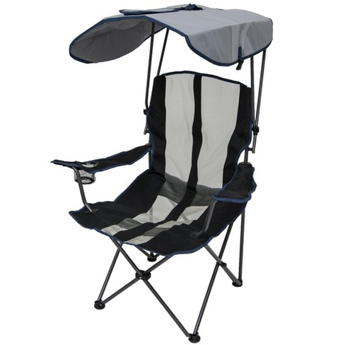 Kelsyus Premium 50+ UPF Portable Camping Folding Lawn Chair with Canopy,  Navy