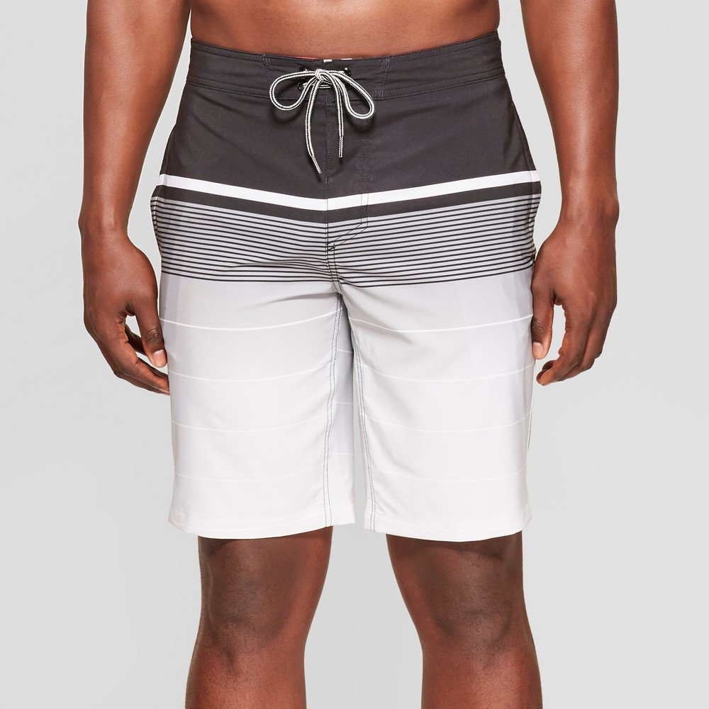 Image of Men's 10 Striped Board Shorts - Goodfellow & Co Black/White 30