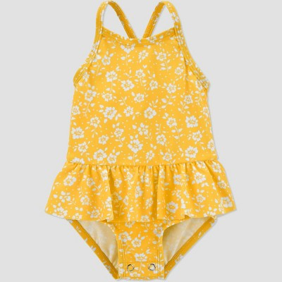 Baby Girls' Floral Ruffle Sleeve One Piece Swimsuit - Just One You® made by carter's Yellow