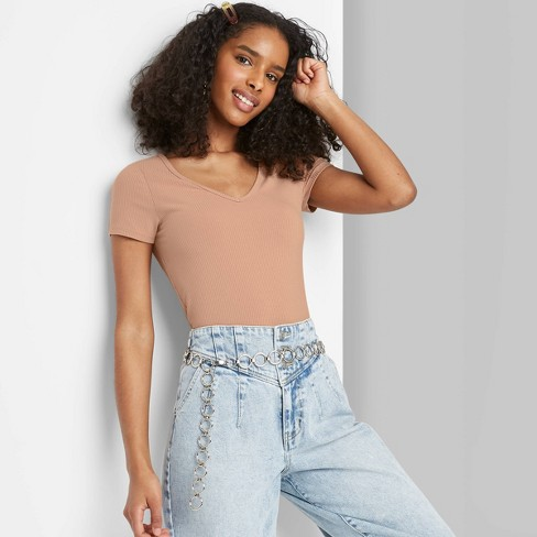 Women's Short Sleeve V-Neck Slim Fit T-Shirt - Wild Fable™ - image 1 of 3